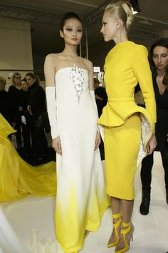 Stéphane Rolland at Couture Spring 2014 Strapless Dress Formal, Formal Dresses, Stephane Rolland, Yellow Fashion, Shades Of Yellow, Designer Gowns, Spring 2014, Yellow Dress, Backstage