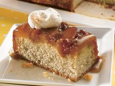 Caramel-Apple Upside-Down Cake  (I might try making the topping, but then using a boxed cake mix - white, yellow, spice...)