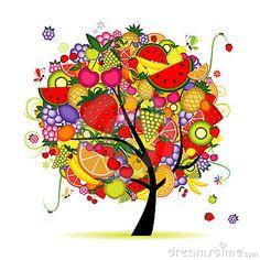 Energy fruit tree for your design,  illustration