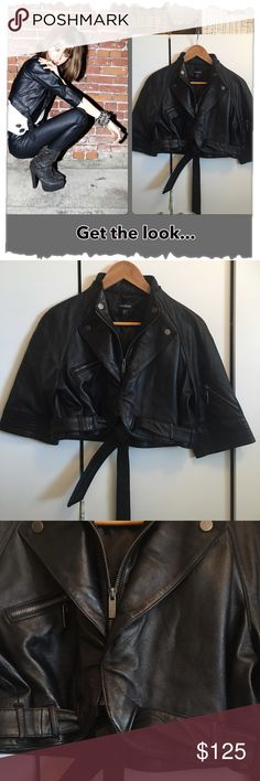 "Bebe Black Leather Crop Bolero Motorcycle Jacket WOW! Gorgeous! Excellent condition! Zippers, snaps, soft leather, cropped, matching tie sash, sexiness! Leather lined in polyester. 3/4 sleeves with zippers. Zips up the front. Hits at bottom of rib cage on me. Bust 38"", bottom 42"", length 16"", sleeves 17"", shoulder to shoulder 15"". Very unique and hard to find!  Girl in photo is not wearing the same jacket. Just used for a styling reference bebe Jackets & Coats"