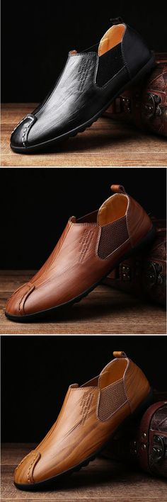 Tendance Chaussures 2017/ 2018 : Men Stitching Elastic Panels British Style Flat Low-top Casual Shoes