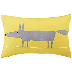 Buy Scion Mr Fox Cushion, Grey / Yellow online at JohnLewis.com - John Lewis