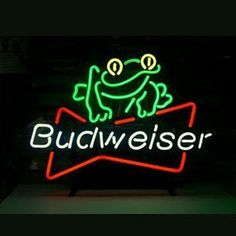 Budweiser Beer Frog Beer Bar Open Neon Signs///How I love you neon signs , Real nice for my Home Bar Deco