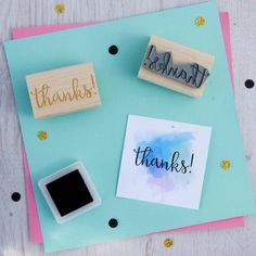 Thanks Sentiment Rubber Stamp by Skull and Cross Buns notonthehighstreet