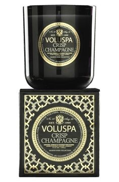 $27 Free shipping and returns on Voluspa 'Maison Noir - Crisp Champagne' Scented Candle at Nordstrom.com. The modern luxury candle redefined. Striking packaging and extraordinary scents. Handcrafted candle-making since 1999. Poured with a luxurious, clean-burning coconut wax blend.The classic Maison Noir candle is a story of fragrance written in wax and poured into a glowing noir glass. Sparkling brut champagne mingles with hints of vanilla and barrel oak.