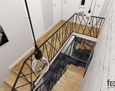 KLATKA SCHODOWA - Średnie schody dwubiegowe drewniane, styl industrialny - zdjęcie od FORMA - Pracownia Architektury Wnętrz i Krajobrazu - homebook