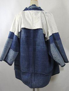 Antique Boro Peasant Jacket. Japanese Indigo Noragi. (inside)