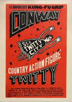 CONWAY TWITTY COUNTRY Action Figure Hand Printed Woodblock Poster