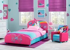 Encourage her to dream crazy big with the Nickelodeon JoJo Siwa Upholstered Twin Bed by Delta Children. The ultimate retreat for the JoJo Siwa fan, this twin bed bursts with character, and girlish charm, boasting enchanting graphics of a unicorn and rainbow on the headboard, while the footboard features 3D applique det