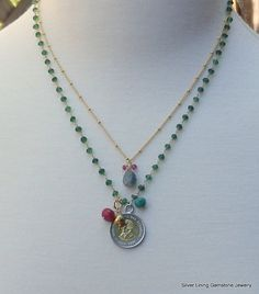 Sundance Style Two Strand Green Sapphire and 100 Lire Coin Necklace by SilverLiningGemz, $175.00