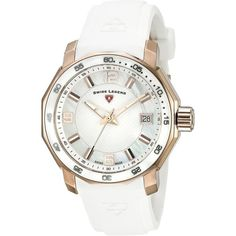 Swiss Legend Blue Geneve Analog Display Swiss Quartz White Watch ($139) ❤ liked on Polyvore featuring jewelry, watches, rose watches, analog wrist watch, white wrist watch, water resistant watches and rose crown