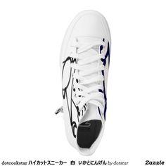 dotcookstar ハイカットスニーカー 白 いかとにんげん printed shoes