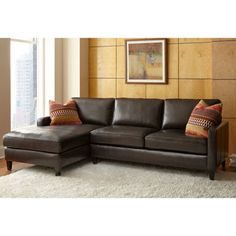 Andersen Top Grain Leather Chaise Sectional - Walnut Brown $2,799