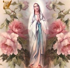 Beautiful picture of mother Mary and roses