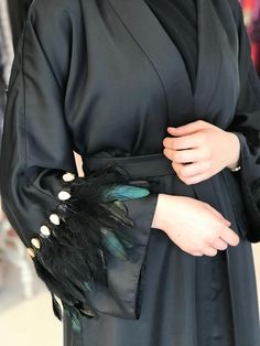 Mother of pearl feathered abaya – Best Of Likes Share Iranian Women Fashion, Islamic Fashion, Muslim Fashion, Trend Fashion, Abaya Fashion, Fashion Dresses, Abaya Designs, New Abaya Style, Dressing Gown Pattern