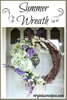 Summer Wreath - Easy to Make and Perfect for a Front Door - virginiasweetpea.com