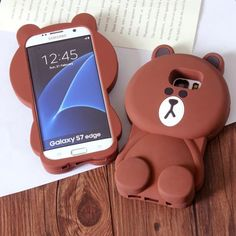 Cute Cartoon 3D Brown Teddy Bear Silicone Cover Case for Samsung Galaxy S7 / S7…
