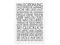Shabby Vintage Schild WANDTAFEL Dekoschild HAUSORDNUNG Holzschild Landhaus Chic