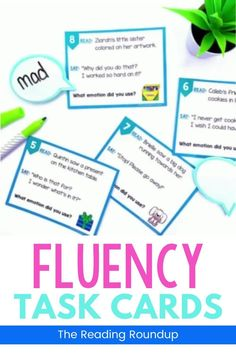 Reading fluency activities are meant to be fun! Students can use these task cards to practice expressive reading to match how the character is feeling. They will have so much fun practicing reading with expression that they won't realize they're improving their reading comprehension at the same time! The corresponding printable emotions charts can be used as an anchor chart during small groups Reading Fluency Activities, Fluency Practice, Reading Resources, Reading Comprehension, First Grade Reading, Student Reading, Emotion Words, Reading Buddies, Small Group Reading
