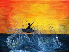 Sea beach surf painting on canvas by MarisaOriginalArt on Etsy, £20.00