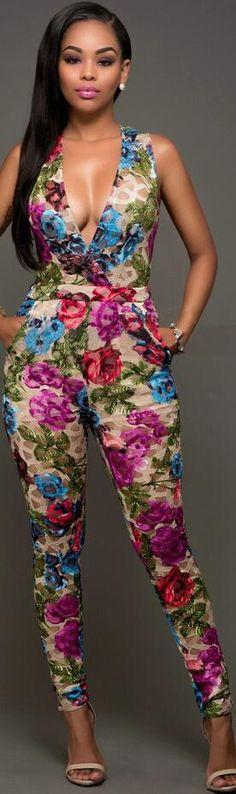 Floral Print Deep V-neck Sleeveless Long Slim Jumpsuit
