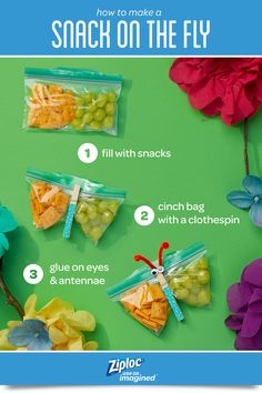 It's more than a bag, it's a snack on the fly! Make these easy and yummy craft ideas for kids with Ziploc® Easy Open Tabs. Make with a Ziploc® brand seal top bag and use for kids packed lunch or goodie bag idea.
