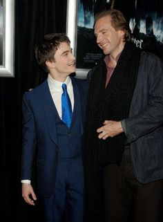 Dan Radcliffe and Ralph Fiennes at the opening of Harry Potter and the Goblet of Fire; what a brilliant shot