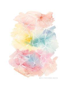 Color Splash in Coral- Watercolor Art Print