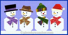 "Snowman Paper Pieced Quilt Block (at 3"" x 6"" it could be a mug rug as well) pattern $3.00 on Craftsy at http://www.craftsy.com/pattern/quilting/other/snowman-paper-pieced-quilt-block/7841"