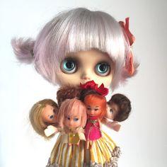 Vintag Blythe-size Mini dolls  set of 3  Liddle by UtterMabness