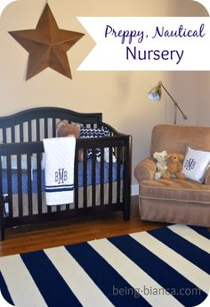 Boy Nursery Ideas - preppy and nautical accents. Easy to decorate and tons of inspiration in this nautical theme nursery.