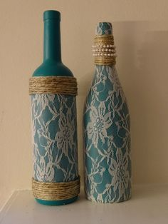 Lace, pearl, and twine adorned teal wine bottles, set of two by TwinenWineCreations on Etsy