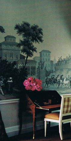 trend: Antique Grisaille wallpaper drama offsetting a pert Chelsea checked seat back… (House and Garden archives)