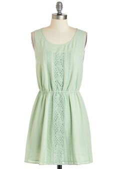 Sage My Name Dress - Mint, Solid, Casual, A-line, Tank top (2 thick straps), Short, Crochet, Scoop, Daytime Party, Pastel