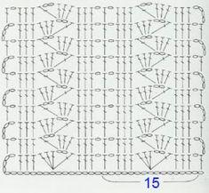Crochet Border Patterns, Crochet Stitches Chart, Crochet Stitches For Beginners, Filet Crochet Charts, Crochet Motifs, Crochet Diagram, Crochet Designs, Crochet Lace, Stitch Patterns