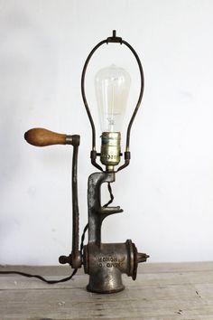 vintage meat grinder lamp by experimentalvintage on Etsy, $58.00