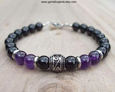 Purple Amethyst and Black Onyx, Mens Beaded Bracelet, Mens Jewelry – Bracelet Clasps, Metal Bracelets, Bracelets For Men, Beaded Bracelets, Amethyst Stone, Purple Amethyst, Metal Beads, Bracelet Designs, Natural Gemstones