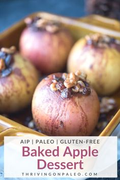 Baked Apple Dessert – Paleo, AIP, Gluten-Free This Paleo apple dessert is a perfect gluten-free treat for the holidays or any other time really. Easy to make and only a few ingredients! Dairy-free, Nut-free, and Vegan options indicated as well. Baked Apple Dessert, Apple Desserts, Paleo Dessert, Dessert Recipes, Paleo Recipes Easy, Raw Food Recipes, Freezer Recipes, Whole30 Recipes, Freezer Cooking