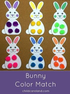 Bunny Color Match … for fine motor … color recognition … and math. – Shelley Lovett @ childcareland Bunny Color Match … for fine motor … color recognition … and math. Bunny Color Match … for fine motor … color recognition … and math. Kids Crafts, Bunny Crafts, Toddler Crafts, Preschool Crafts, Easter Crafts, Spring Activities, Color Activities, Toddler Activities, Preschool Activities