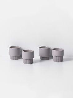 Groove Espresso Cups - Grey (Set of 4) 1