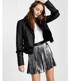 Metallic Pleated Mini Skirt Silver Women's Small