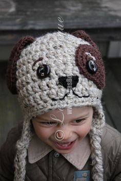 Doggy Earflap Crochet Hat for Boys and Girls - MADE TO ORDER. $32.00, via Etsy.