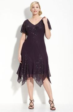 J Kara Beaded Godet Dress (Plus) | Nordstrom