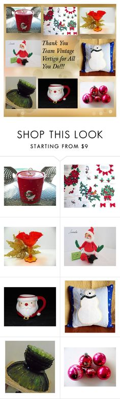 """Thank You Team vintage Vertigo..."" by jamscraftcloset ❤ liked on Polyvore featuring interior, interiors, interior design, home, home decor, interior decorating, Annalee and vintage"