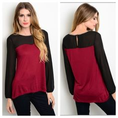 """Red/ black top Red/ black top S M L  Length- small: 26"""" • medium/ large 27"""" Materials- 100% rayon. The black part is sheer and the neckline is jeweled. Very stretchy top! Perfect for holiday parties! Button closure on the backside.  NWT. Brand new with tags. Availability- S•M•L • 2•3•2 PLEASE do not purchase this listing. Price is firm unless bundled. No tradesCLEARANCE PRICE!! WAS $30!!! Boutique Tops"""