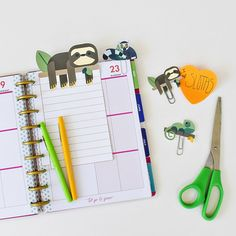 Free Printable Sloth Planner Inserts and Clips form Mom Envy