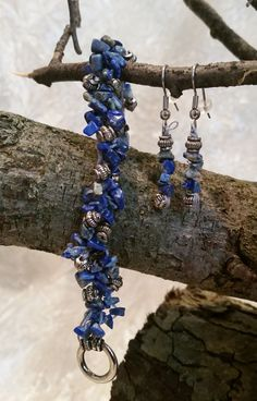 Crocheted Bead Bracelet Blue and silver beads handmade by Meander Canyon Crafts. Silver tone toggle clasp. Size extra-small – 6 1/2 inches.