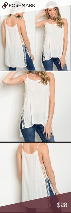 """🆕 Off White Tank with Crochet Inserts One of my favorites! Photos do not do this one justice.   •Made of 100% Rayon •Crochet inserts along each side seam •Split up each side •Is NOT lined/ Semi-sheer •Straps are adjustable •Hi/Low style  Measurements: S-   Bust: 38""""  Length: 24/27"""" M-  Bust: 42""""  Length: 25/28"""" L-   Bust: 44""""  Length: 26/29""""  ❗Price is firm unless bundled❗️ Tops"""