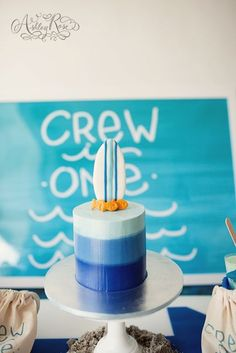 Crew's Ombre Surf 1st Birthday Party