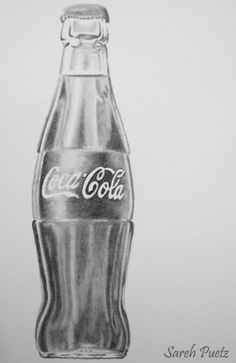 Graphite drawing Bottle of Coca-Cola from Sareh Puetz. Art Drawings Sketches Simple, Pencil Art Drawings, Realistic Drawings, Cute Drawings, Drawing Ideas, Still Life Pencil Shading, Still Life Drawing, Coca Cola, Bottle Drawing
